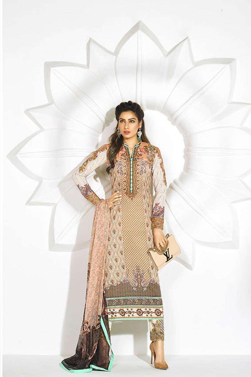 Asim Jofa Embroidered Lawn Unstitched 3 Piece Suit AJ17L 1B