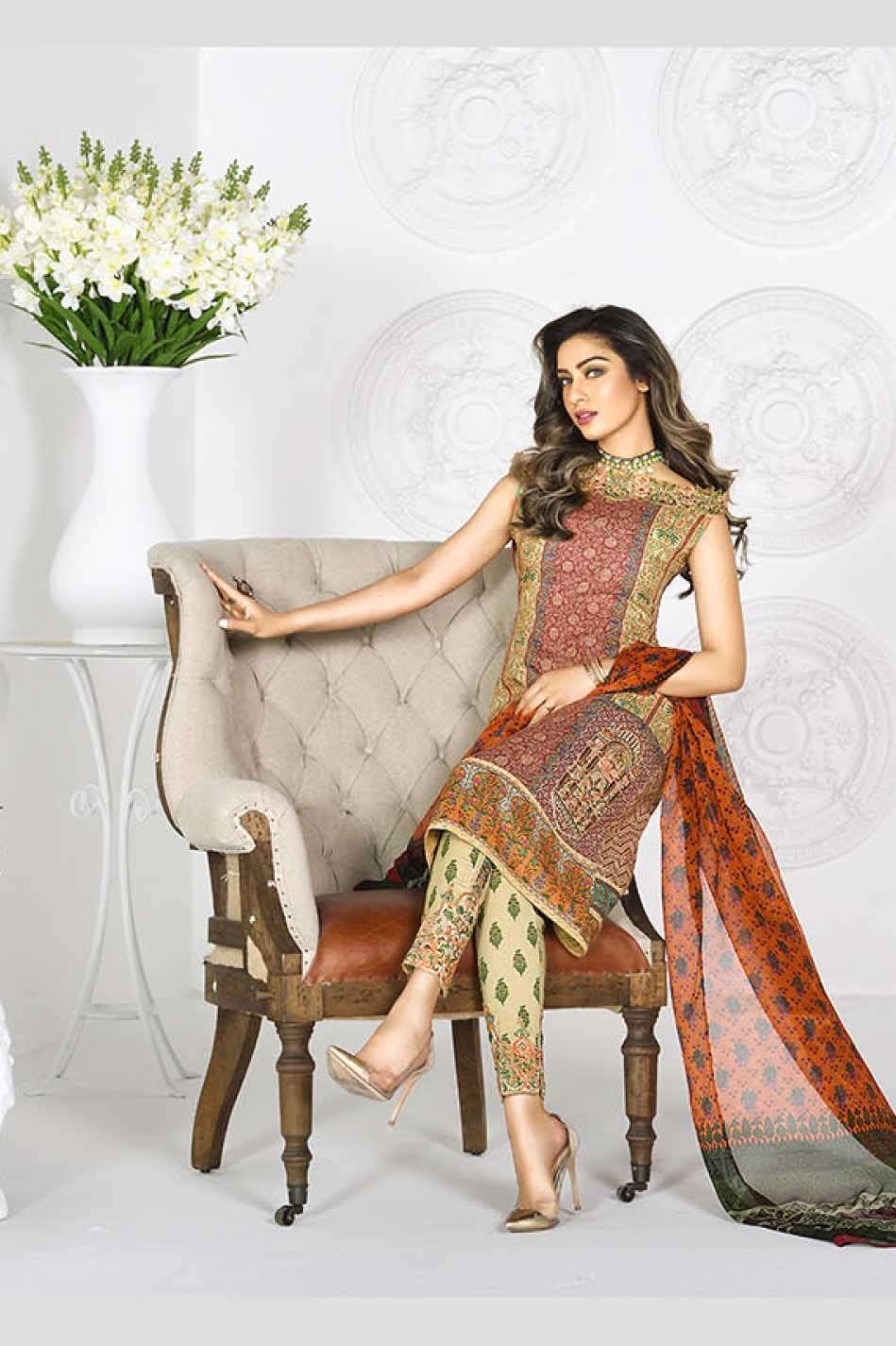 Asim Jofa Embroidered Lawn Unstitched 3 Piece Suit AJ17L 2B
