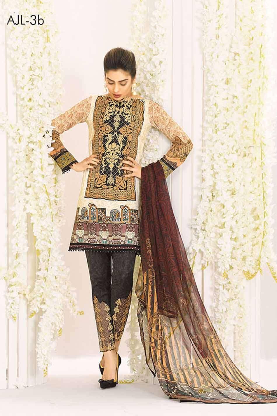 Asim Jofa Embroidered Lawn Unstitched 3 Piece Suit AJ17L 3B