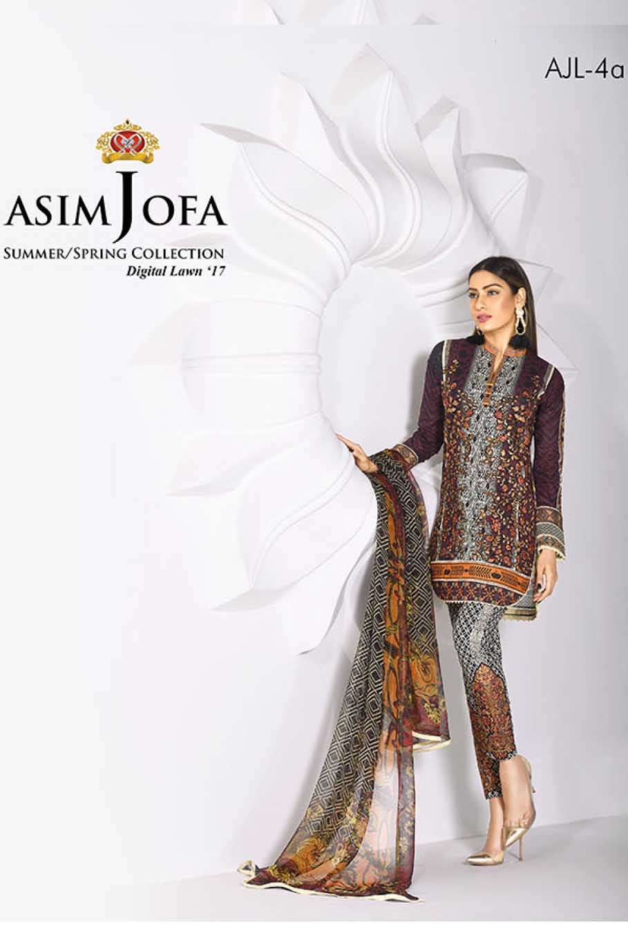 Asim Jofa Embroidered Lawn Unstitched 3 Piece Suit AJ17L 4A
