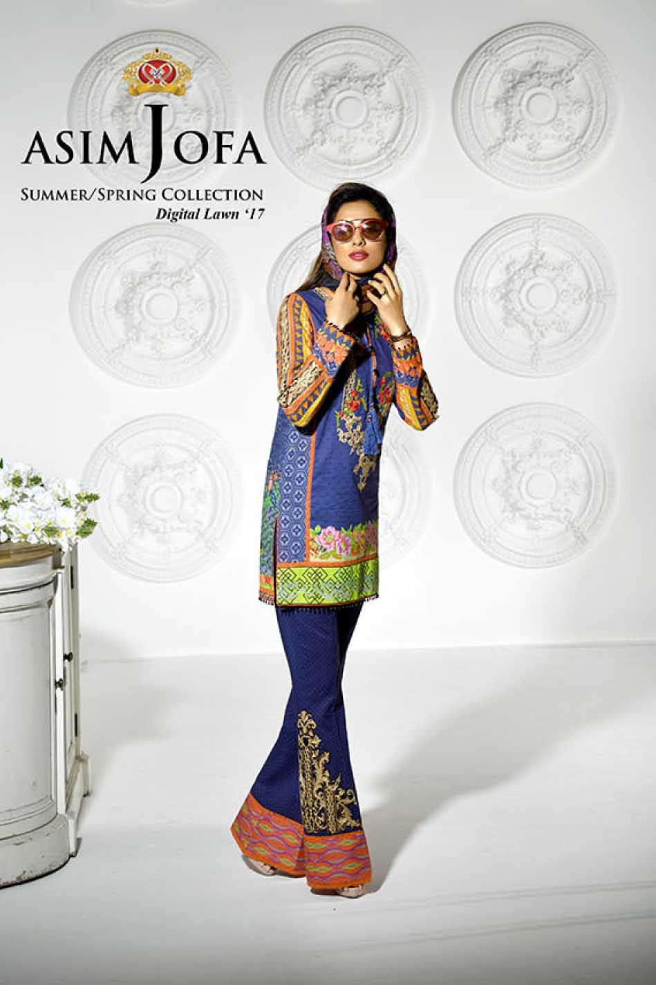 Asim Jofa Embroidered Lawn Unstitched 3 Piece Suit AJ17L 5B