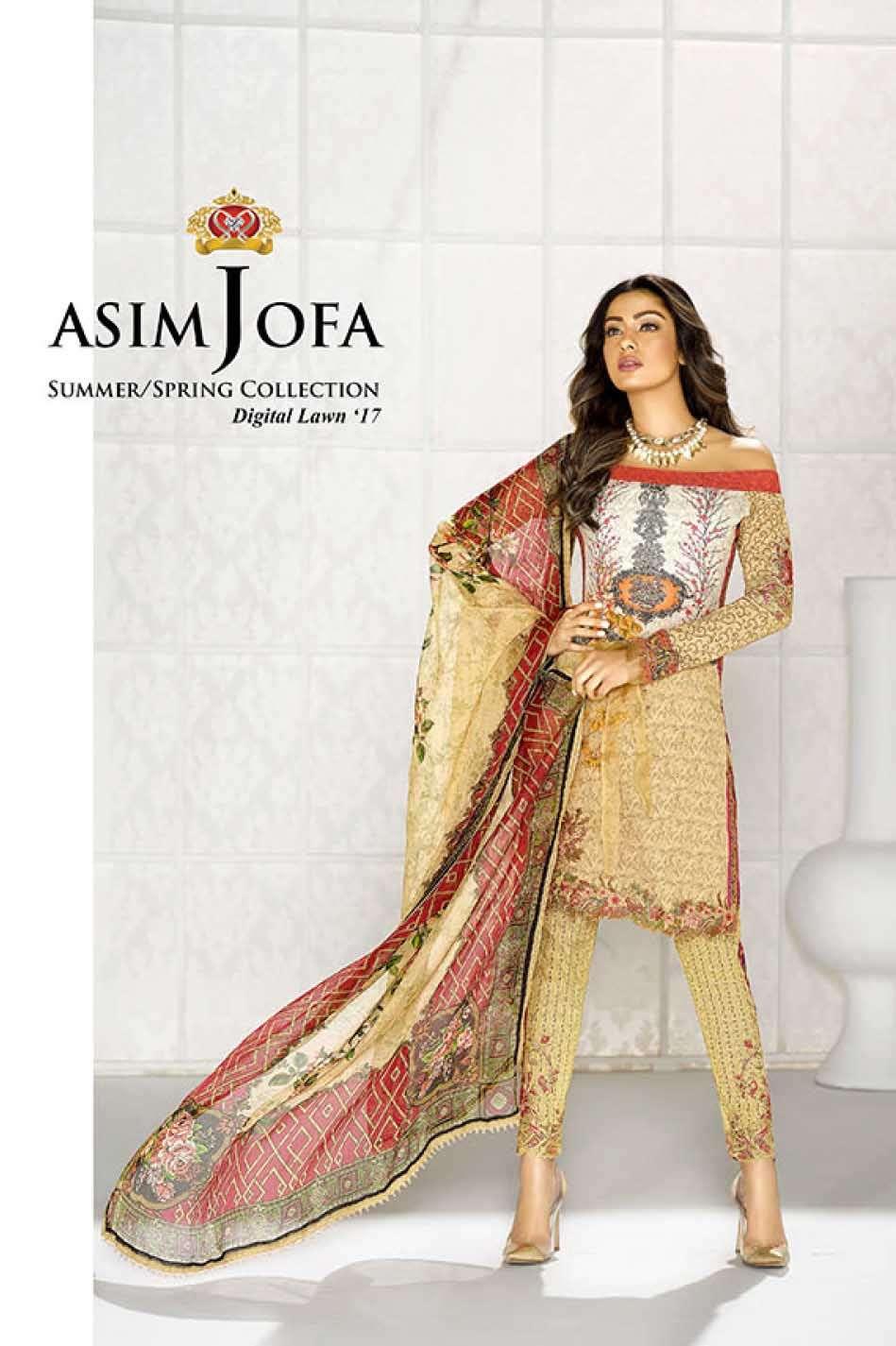 Asim Jofa Embroidered Lawn Unstitched 3 Piece Suit AJ17L 6A