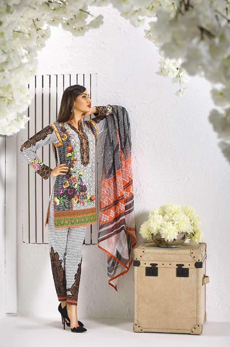 Asim Jofa Embroidered Lawn Unstitched 3 Piece Suit AJ17L 7A