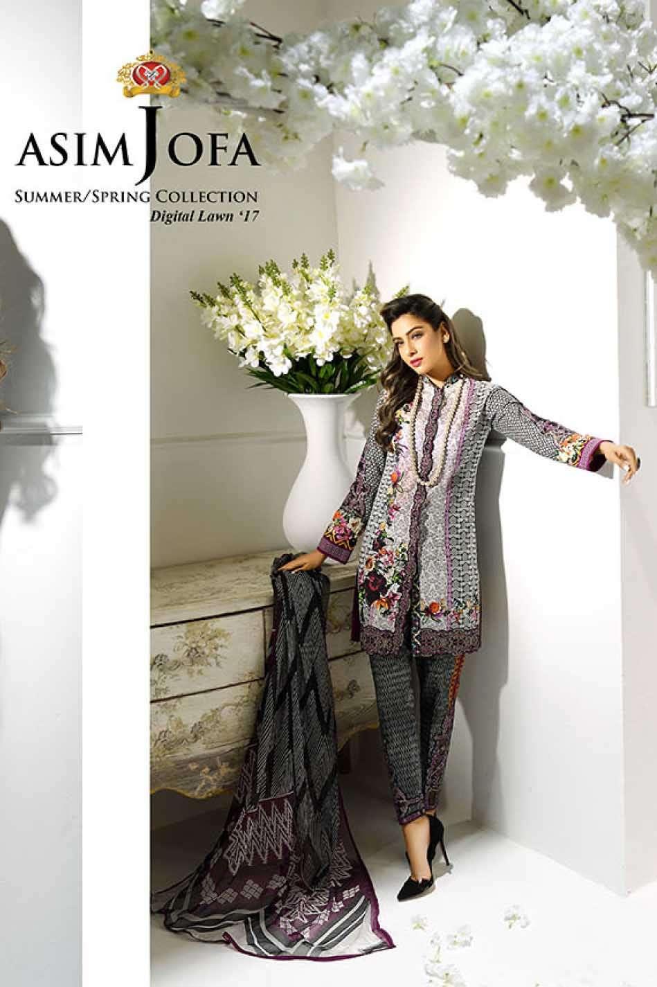 Asim Jofa Embroidered Lawn Unstitched 3 Piece Suit AJ17L 7B