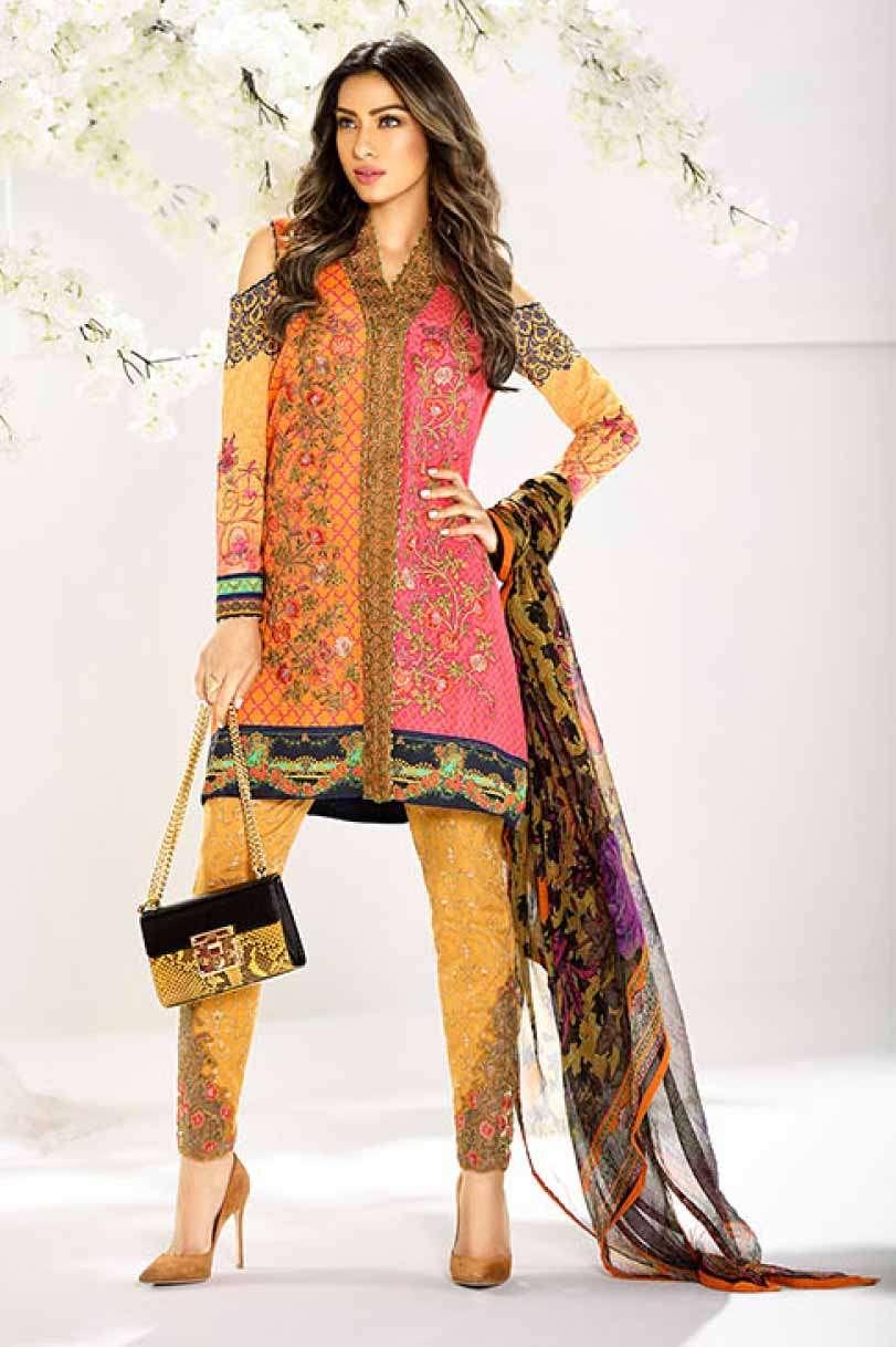 Asim Jofa Embroidered Lawn Unstitched 3 Piece Suit AJ17L 9A