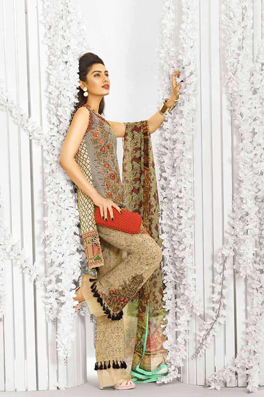 Asim Jofa Embroidered Lawn Unstitched 3 Piece Suit AJ17L 9B