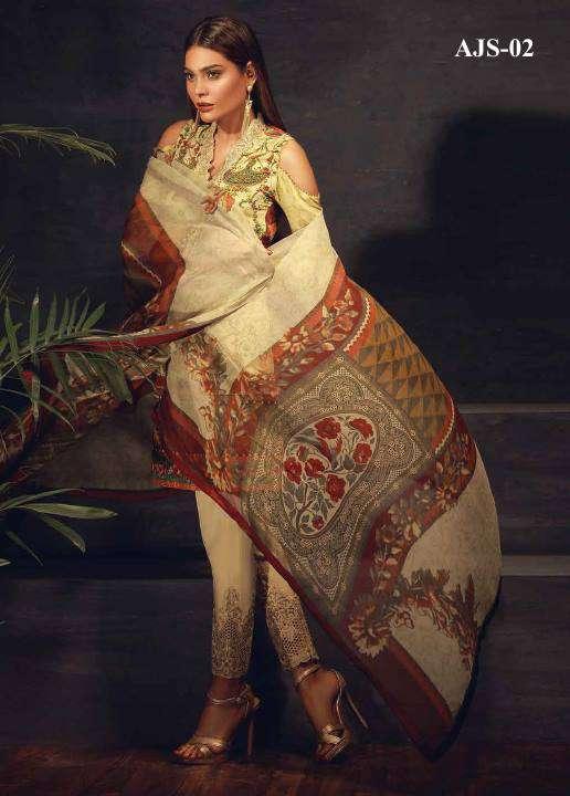 Asim Jofa Embroidered Silk Unstitched 3 Piece Suit AJ17W 02