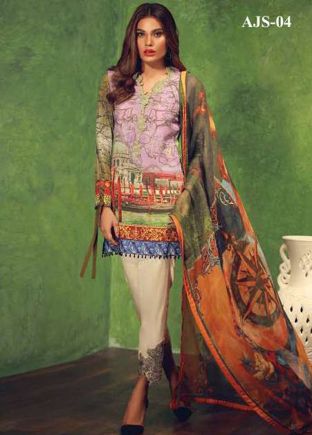 Asim Jofa Embroidered Silk Unstitched 3 Piece Suit AJ17W 04