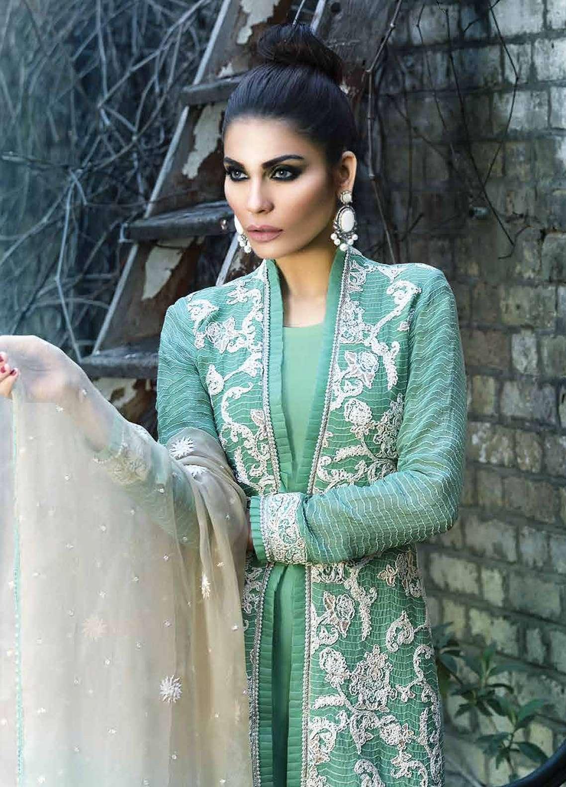 Asim Jofa Embroidered Cotton Net Unstitched 3 Piece Suit AJ18F 2A - Festive Collection
