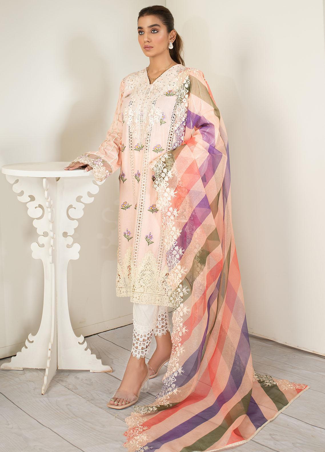 AJR Couture - Abbas Jamil Rajpoot Luxury Pret Embroidered Lawn 3 Piece Suit AJR21L 01 Crepe