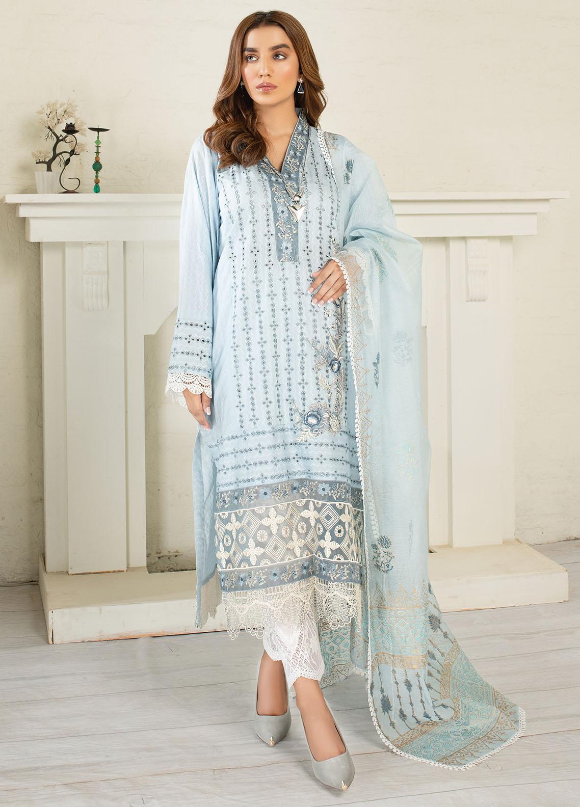 AJR Couture - Abbas Jamil Rajpoot Luxury Pret Embroidered Lawn 3 Piece Suit AJR21L 02 Azure