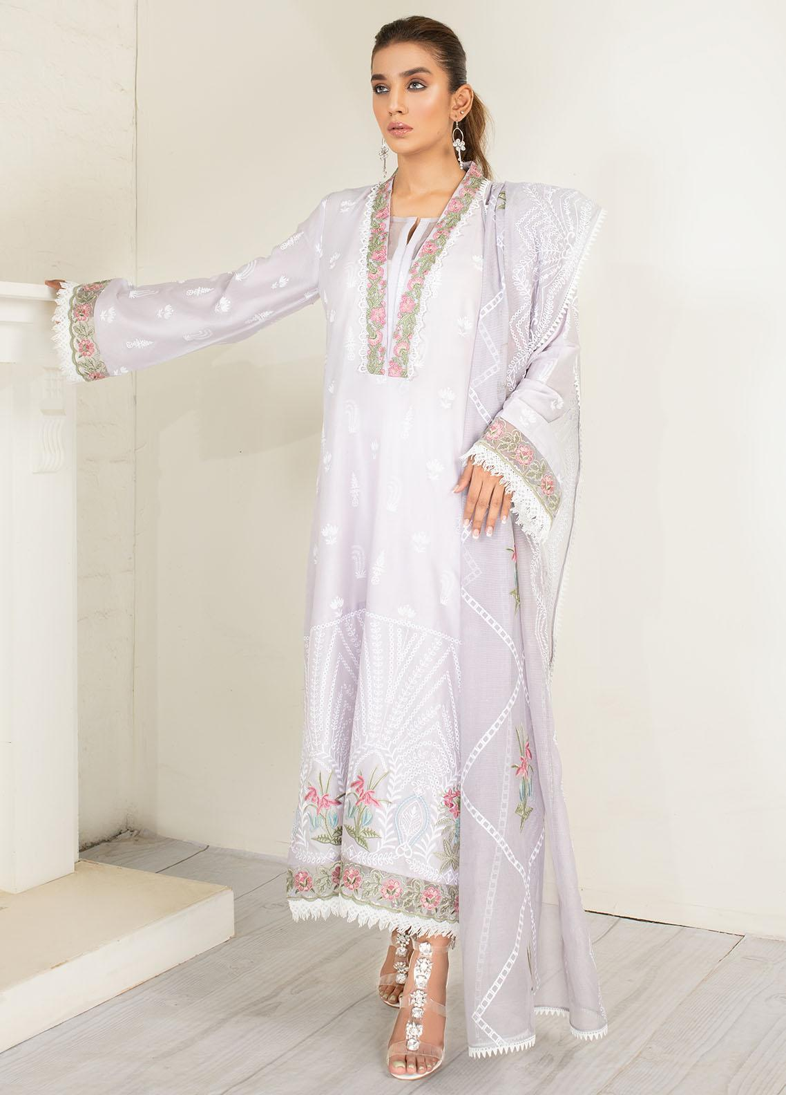 AJR Couture - Abbas Jamil Rajpoot Luxury Pret Embroidered Lawn 3 Piece Suit AJR21L 04 Periwinkle