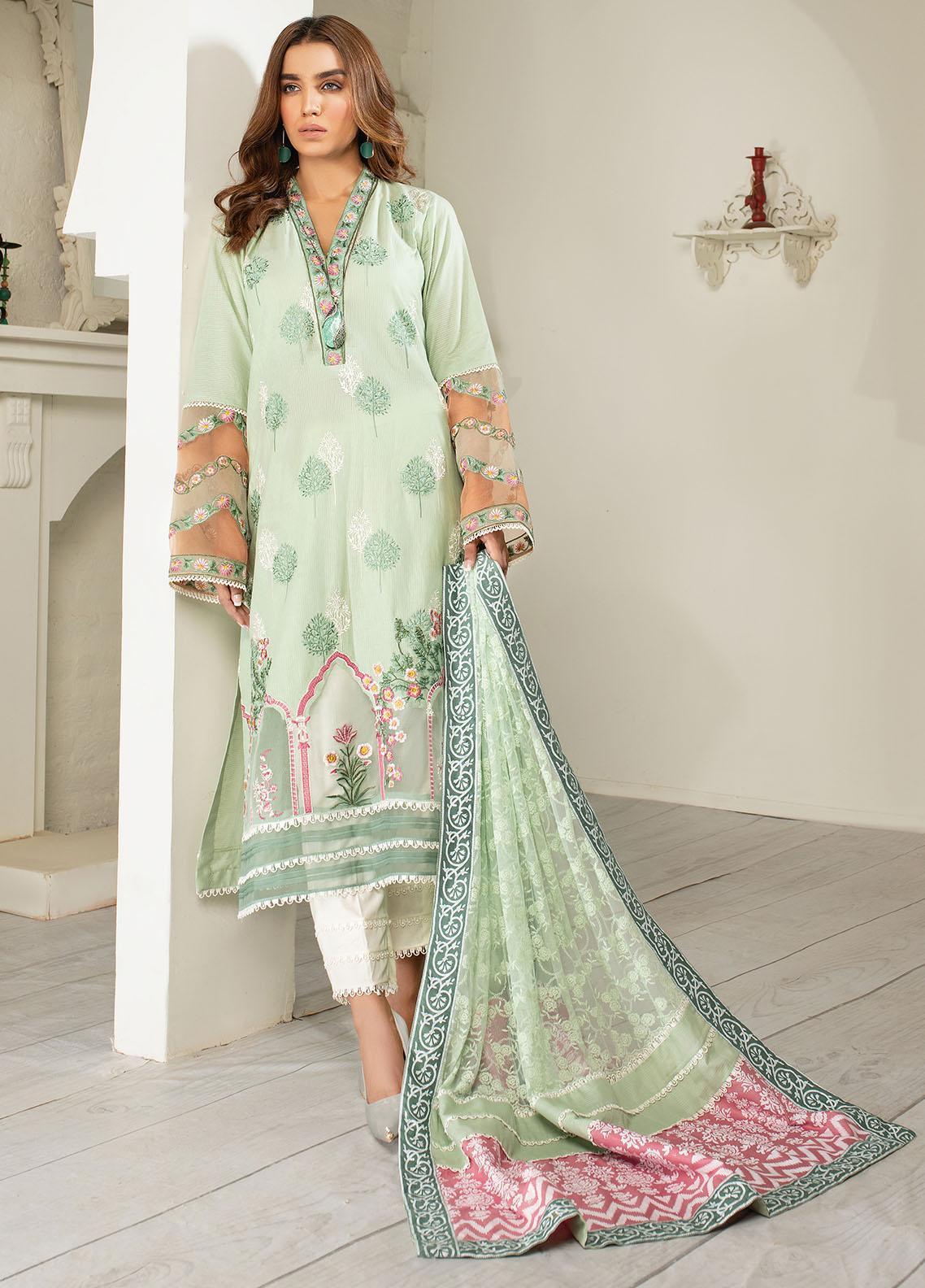 AJR Couture - Abbas Jamil Rajpoot Luxury Pret Embroidered Lawn 3 Piece Suit AJR21L 06 Celery Ice
