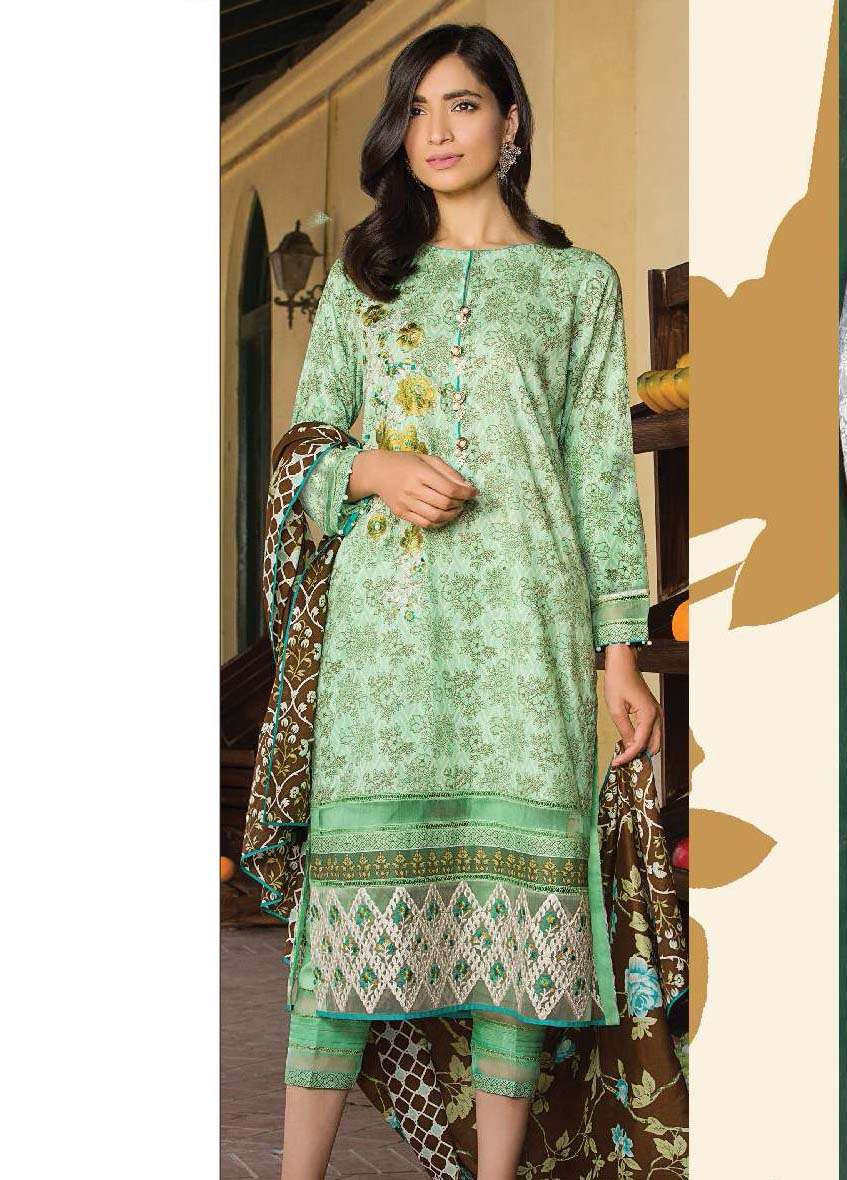 Al Karam Embroidered Cotton Unstitched 3 Piece Suit AK17E 09 Green