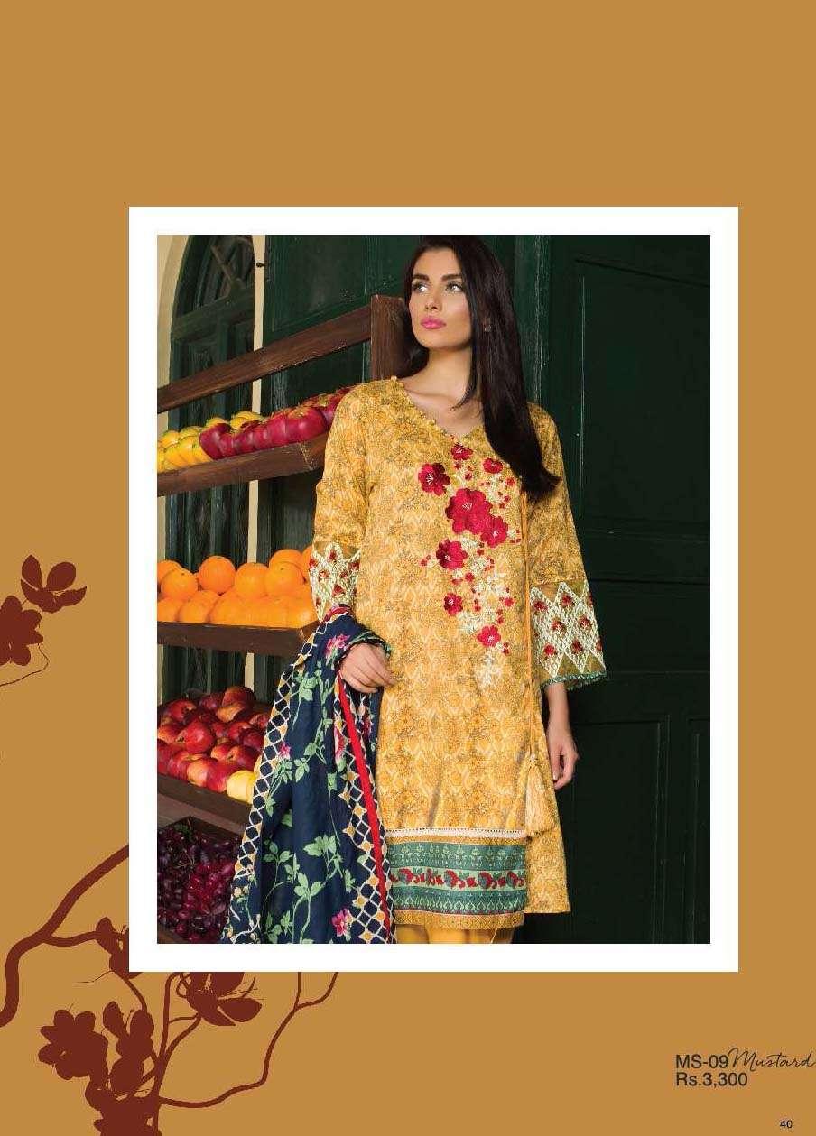 Al Karam Embroidered Cotton Unstitched 3 Piece Suit AK17E 09 Mustard