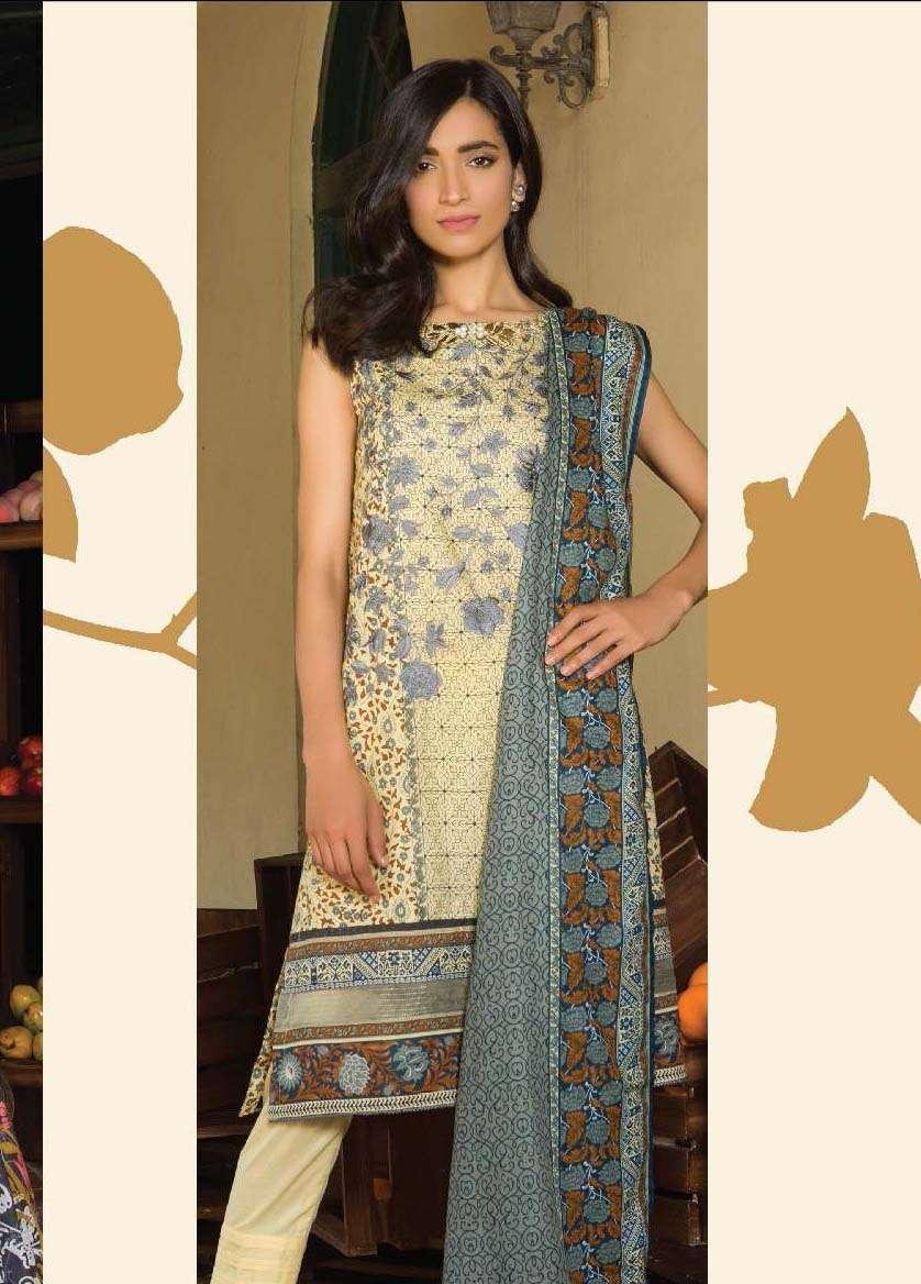 Al Karam Embroidered Cotton Unstitched 3 Piece Suit AK17E 11 Beige