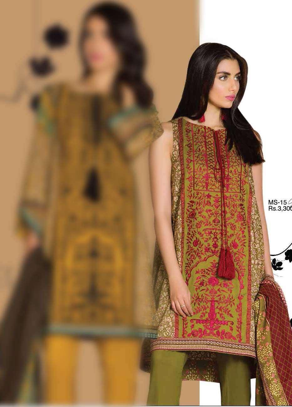 Al Karam Embroidered Cotton Unstitched 3 Piece Suit AK17E 15 Green