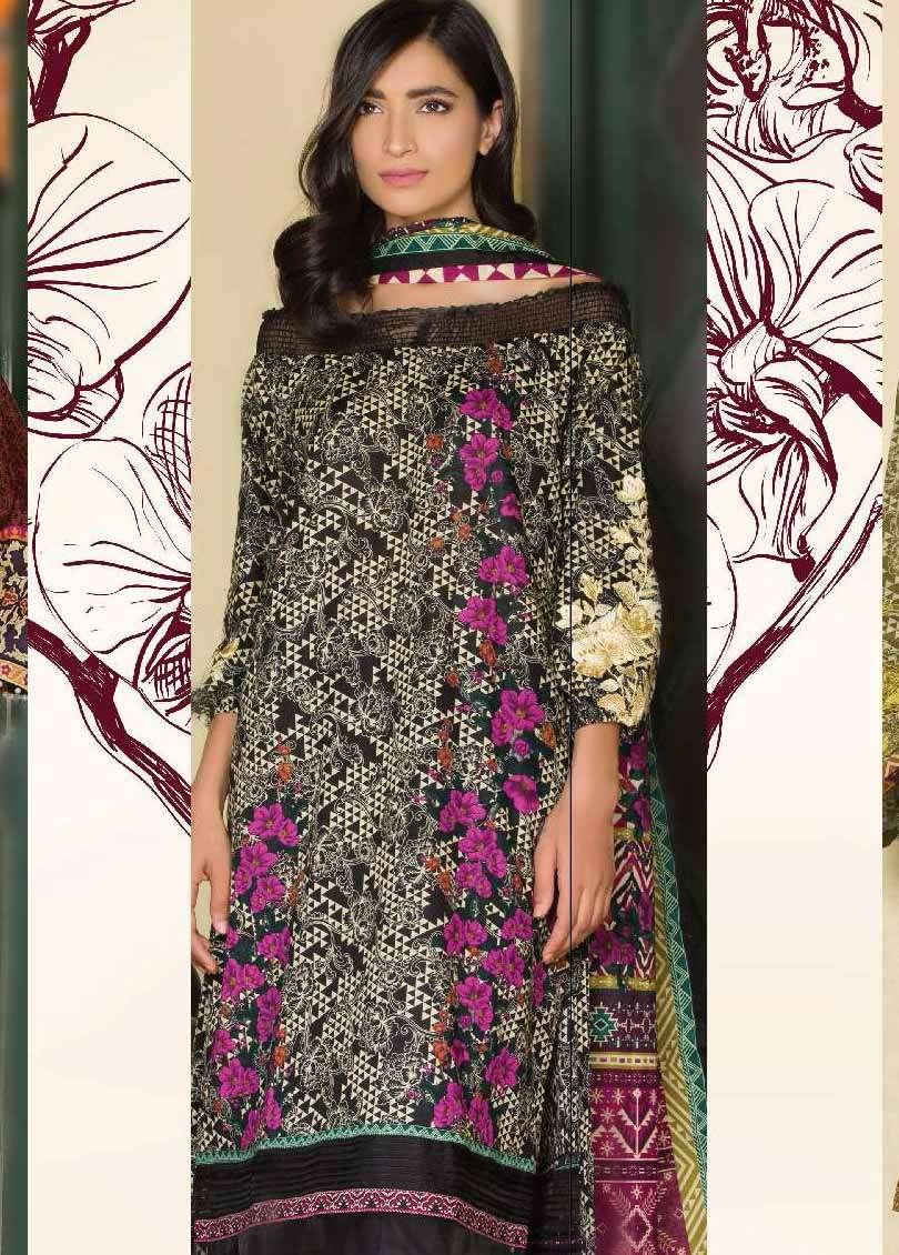 Al Karam Embroidered Cotton Unstitched 3 Piece Suit AK17E 16 Black