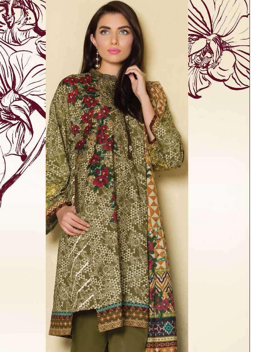 Al Karam Embroidered Lawn Unstitched 3 Piece Suit AK17E 16 Olive