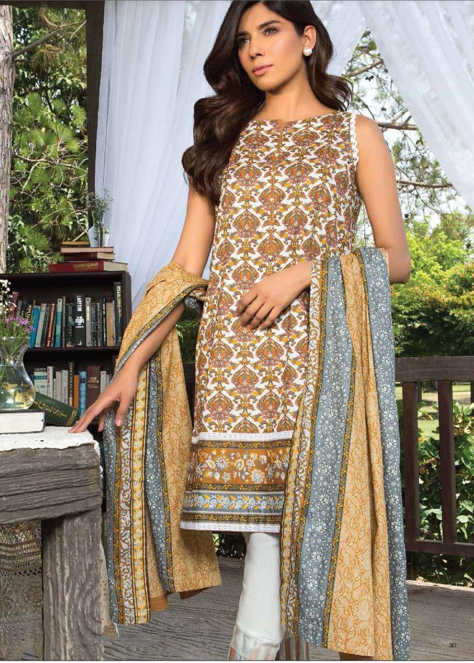 Al Karam Printed Cotton Unstitched 3 Piece Suit AK17E 19 Mustard