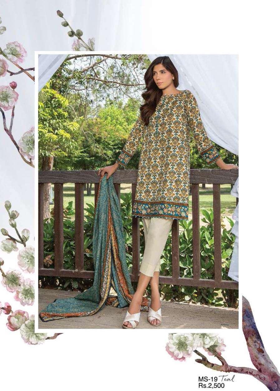 Al Karam Embroidered Cotton Unstitched 3 Piece Suit AK17E 19 Teal