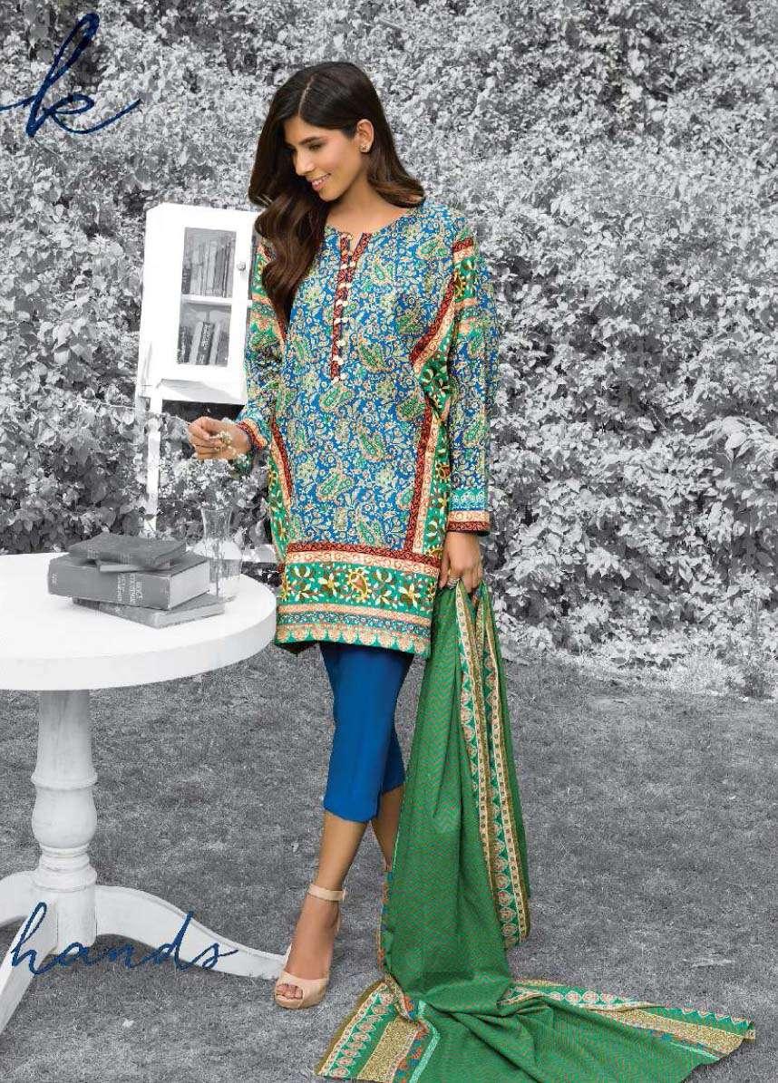 Al Karam Embroidered Cotton Unstitched 3 Piece Suit AK17E 21 Blue