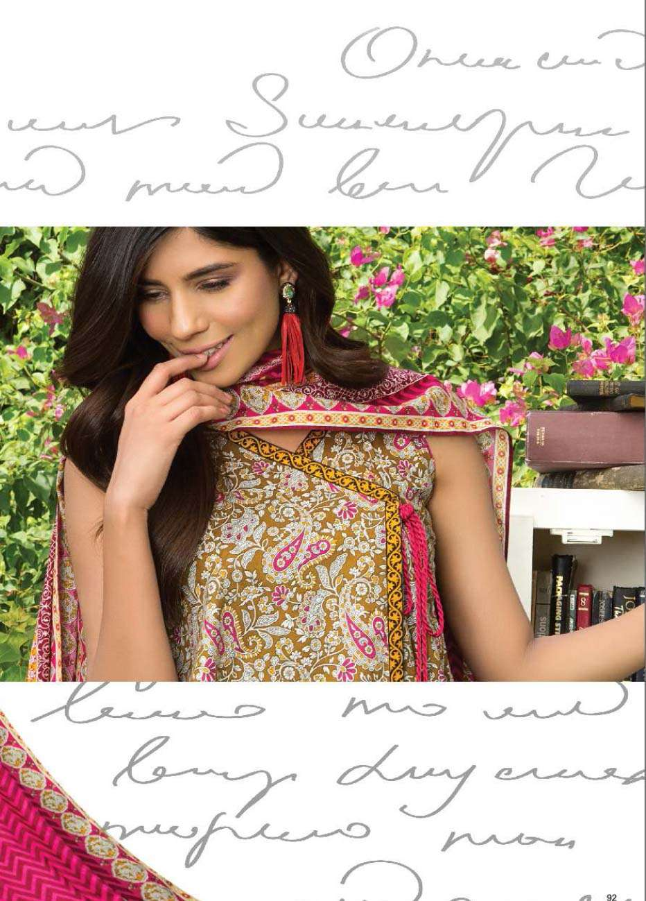 Al Karam Printed Cotton Unstitched 3 Piece Suit AK17E 21 Brown