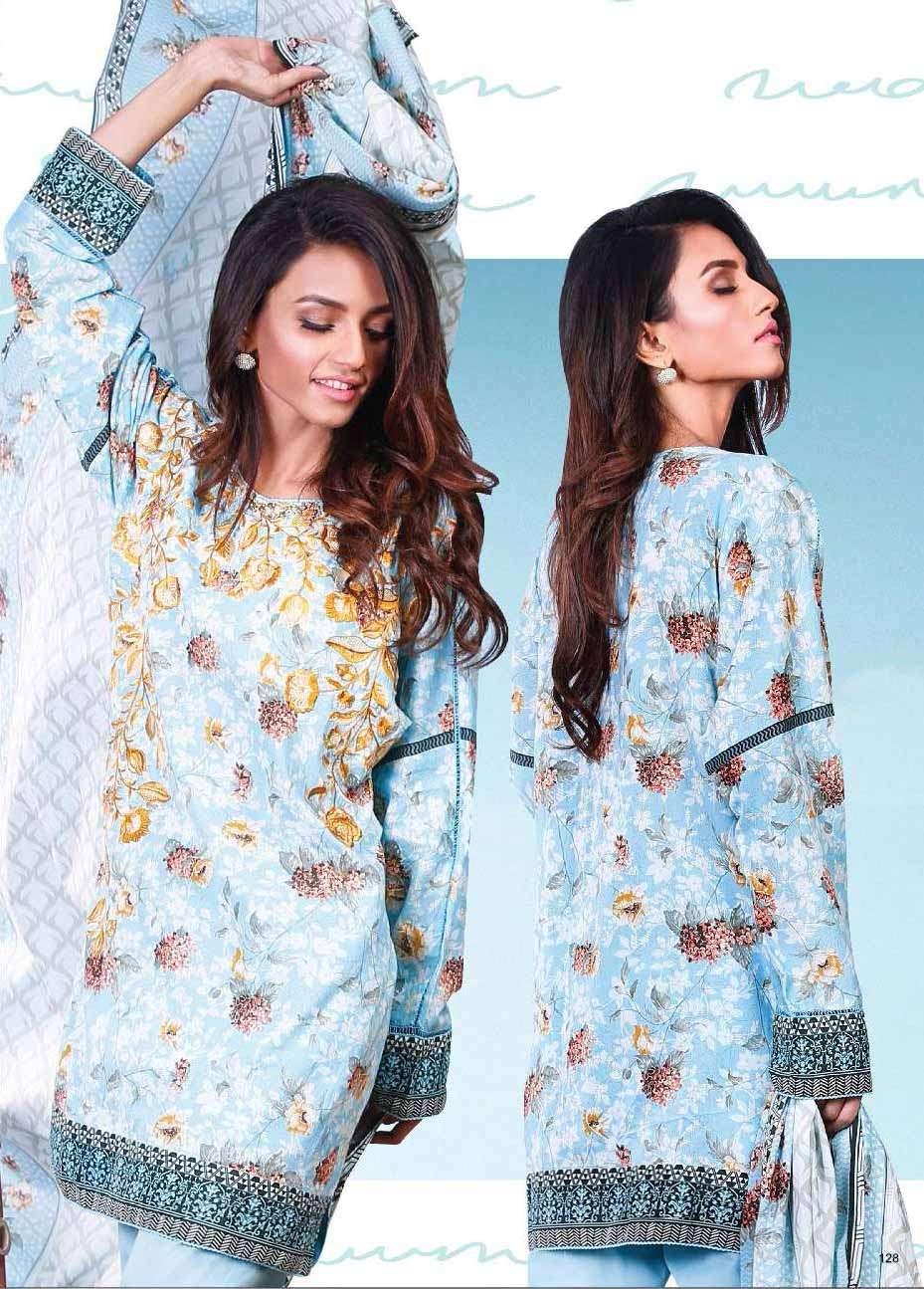 Al Karam Embroidered Cotton Unstitched 2 Piece Suit AK17E 27 Blue