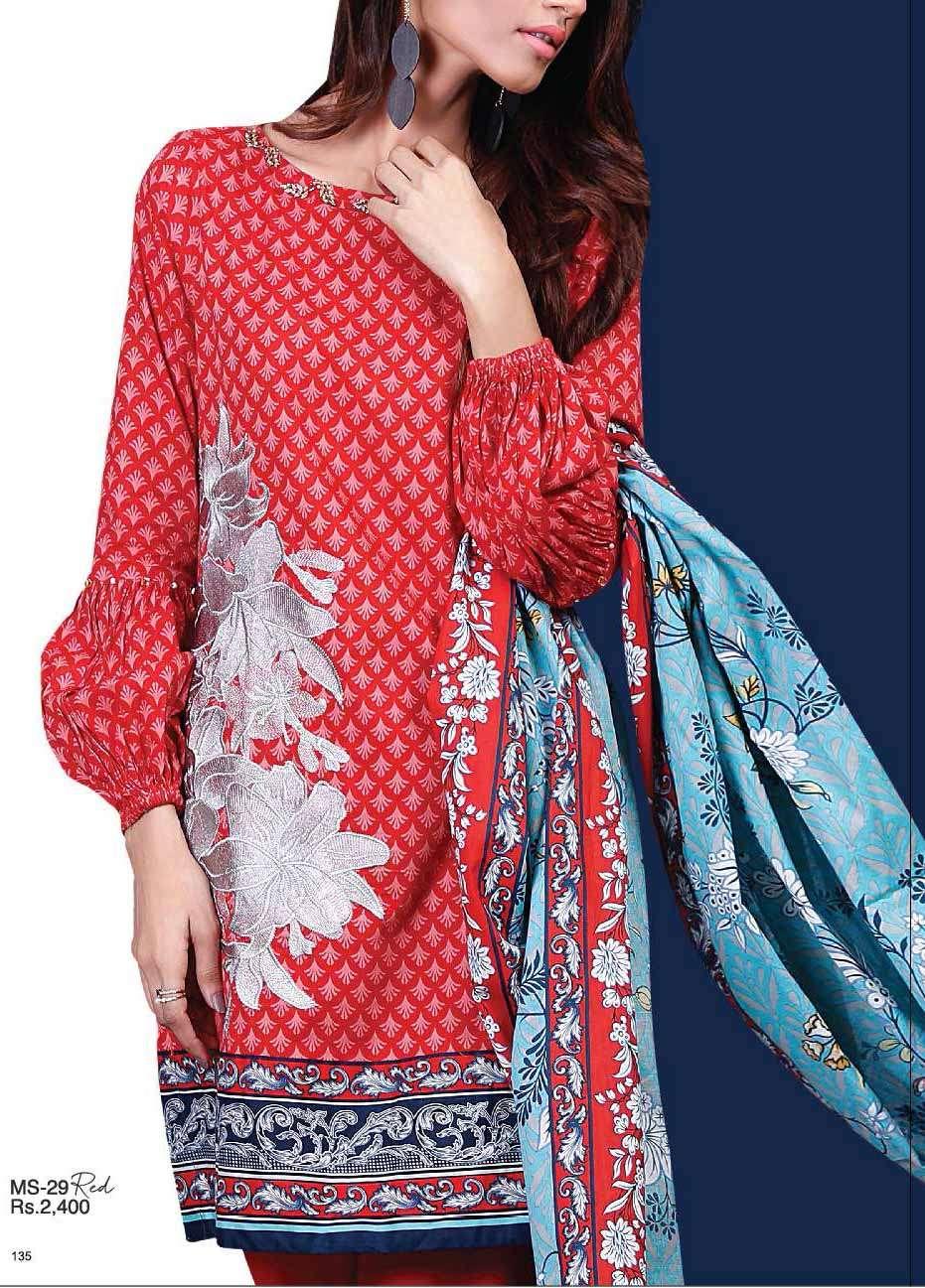 Al Karam Embroidered Cotton Unstitched 2 Piece Suit AK17E 29 Red