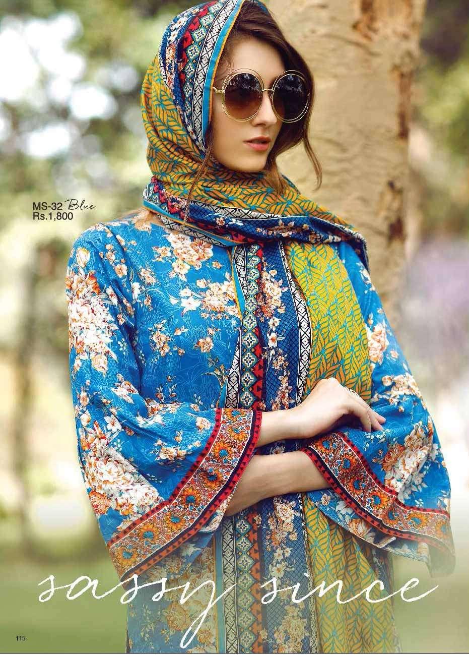 Al Karam Embroidered Cotton Unstitched 2 Piece Suit AK17E 32 Blue