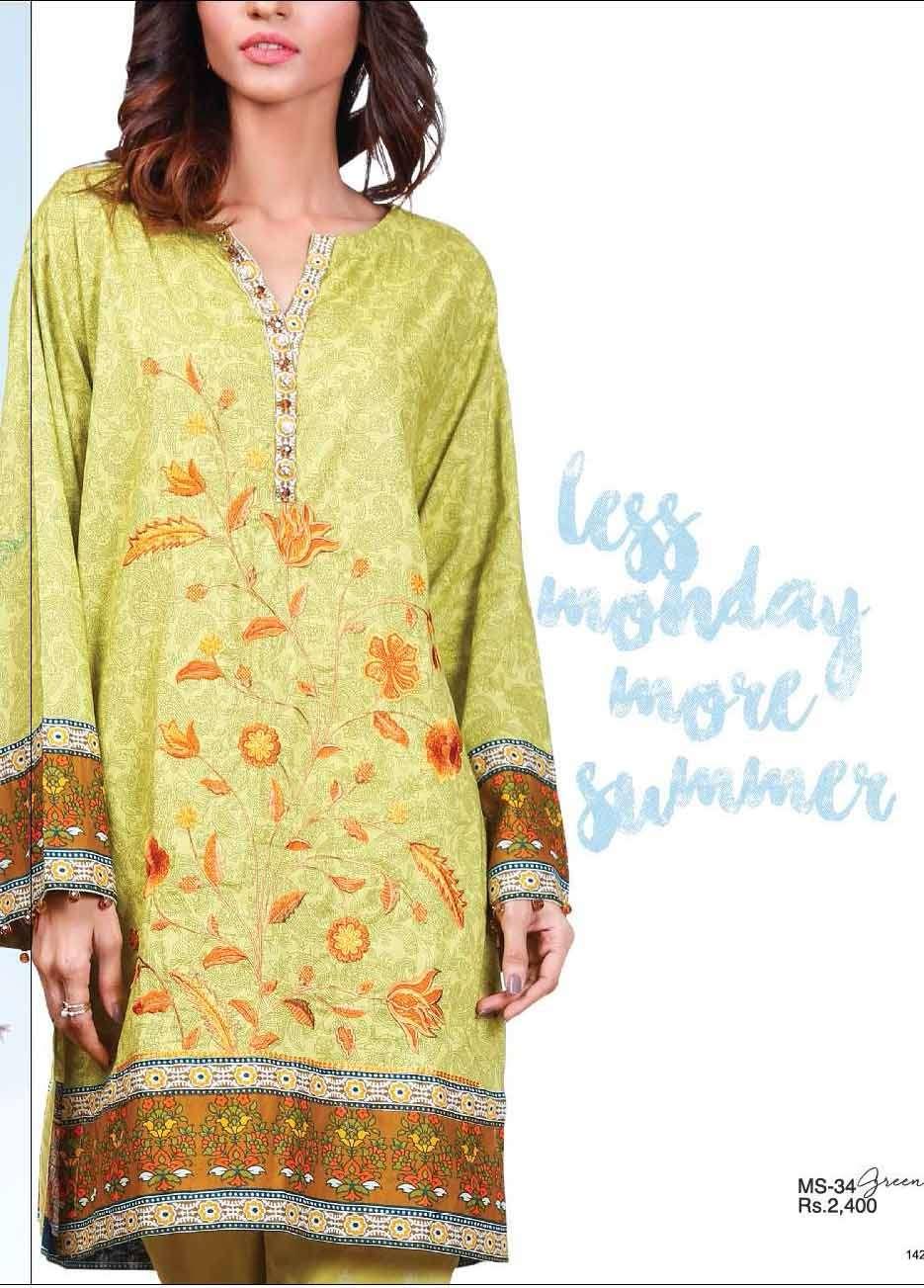 Al Karam Embroidered Cotton Unstitched 2 Piece Suit AK17E 34 Green