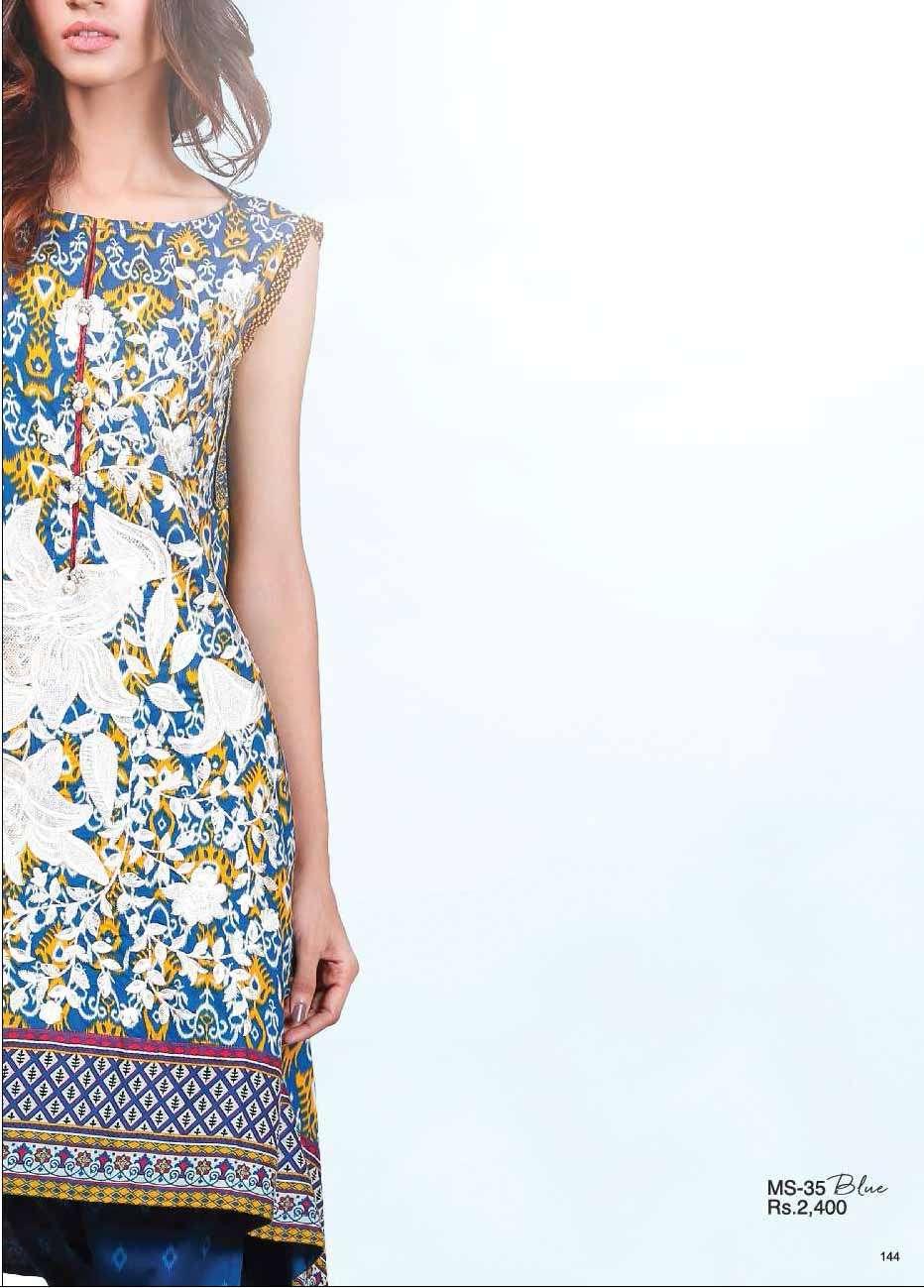 Al Karam Embroidered Cotton Unstitched 2 Piece Suit AK17E 35 Blue