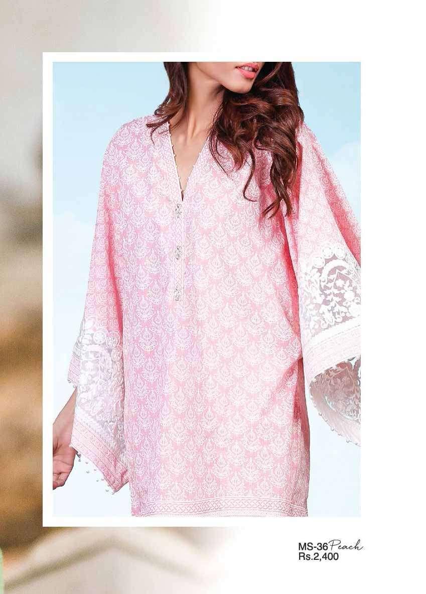 Al Karam Embroidered Cotton Unstitched 2 Piece Suit AK17E 36 Peach
