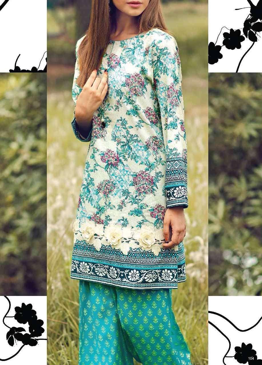 Al Karam Printed Cotton Unstitched 2 Piece Suit AK17E 38 Turquoise