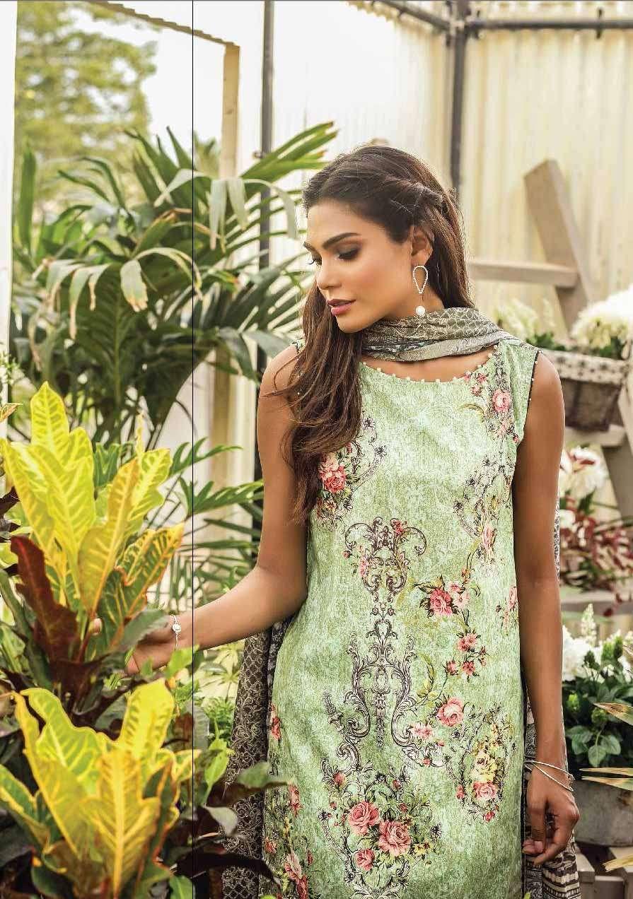 Al Karam Embroidered Cotton Unstitched 3 Piece Suit AK17E 41 Green