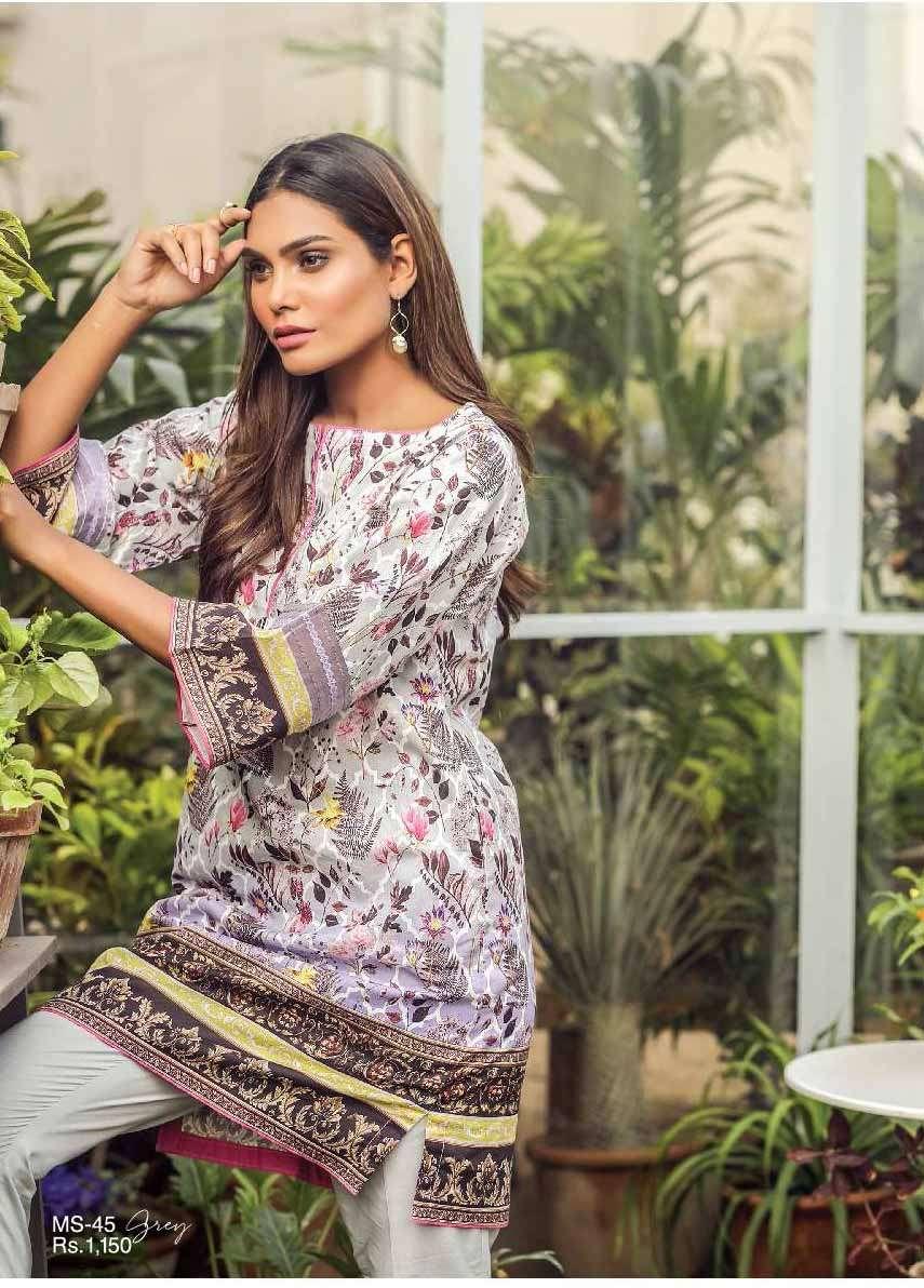 Al Karam Embroidered Cotton Unstitched 1 Piece Suit AK17E 45 Grey
