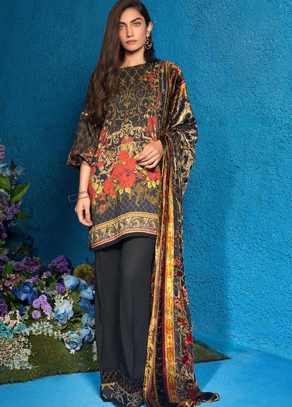 Al Karam Embroidered Linen Unstitched 3 Piece Suit AK17W 02 Black
