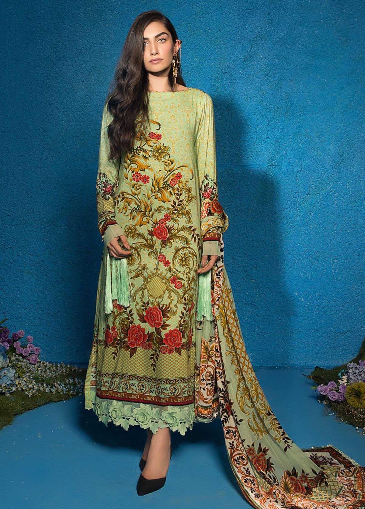 Al Karam Embroidered Linen Unstitched 3 Piece Suit AK17W 02 Green