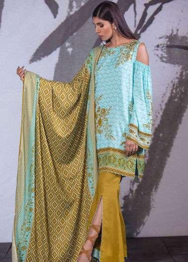 Al Karam Embroidered Linen Unstitched 3 Piece Suit AK17W 03 Blue