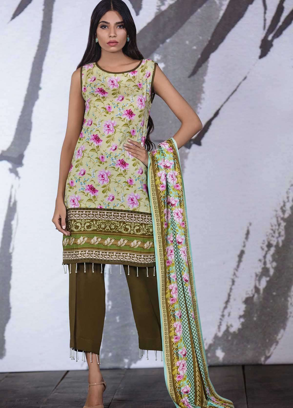 Al Karam Embroidered Linen Unstitched 3 Piece Suit AK17W 04 Green