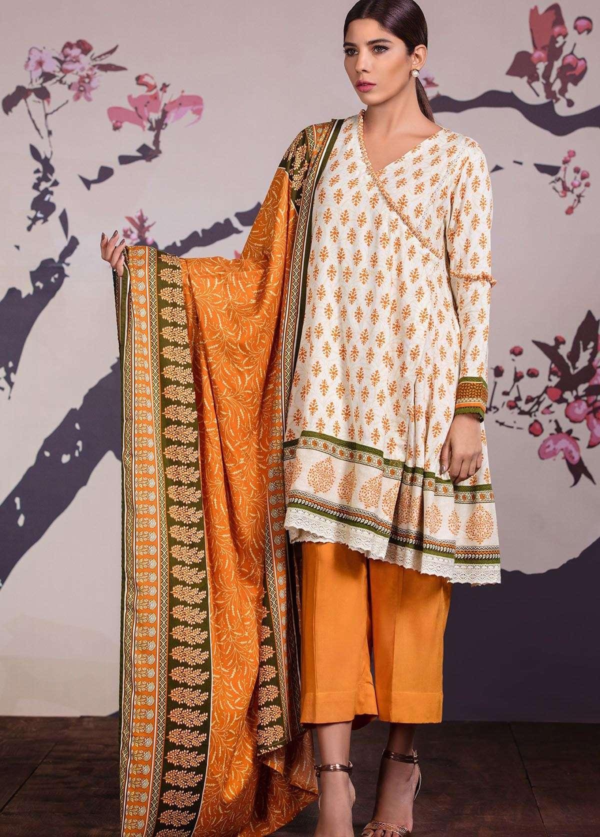 Al Karam Embroidered Linen Unstitched 3 Piece Suit AK17W 06 Orange