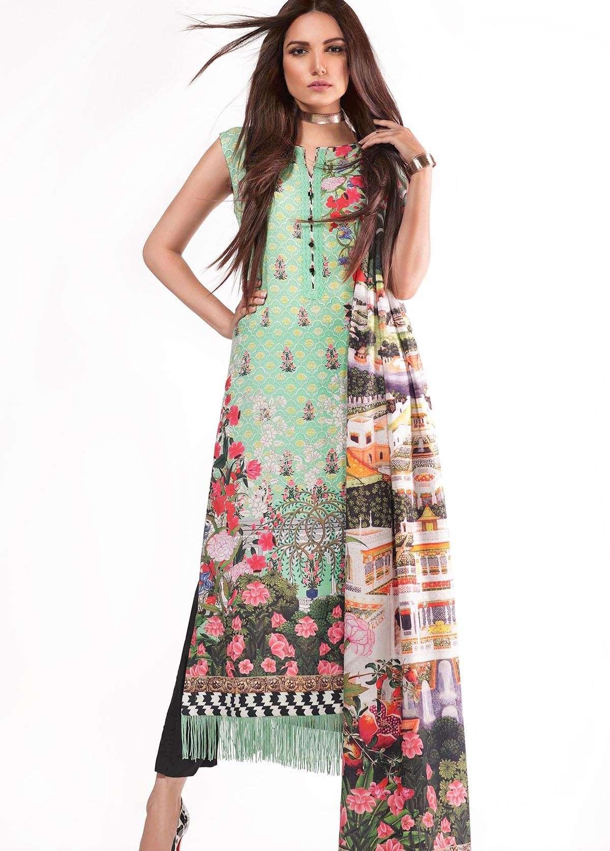 Al Karam Embroidered Linen Unstitched 3 Piece Suit AK17W 08 Green