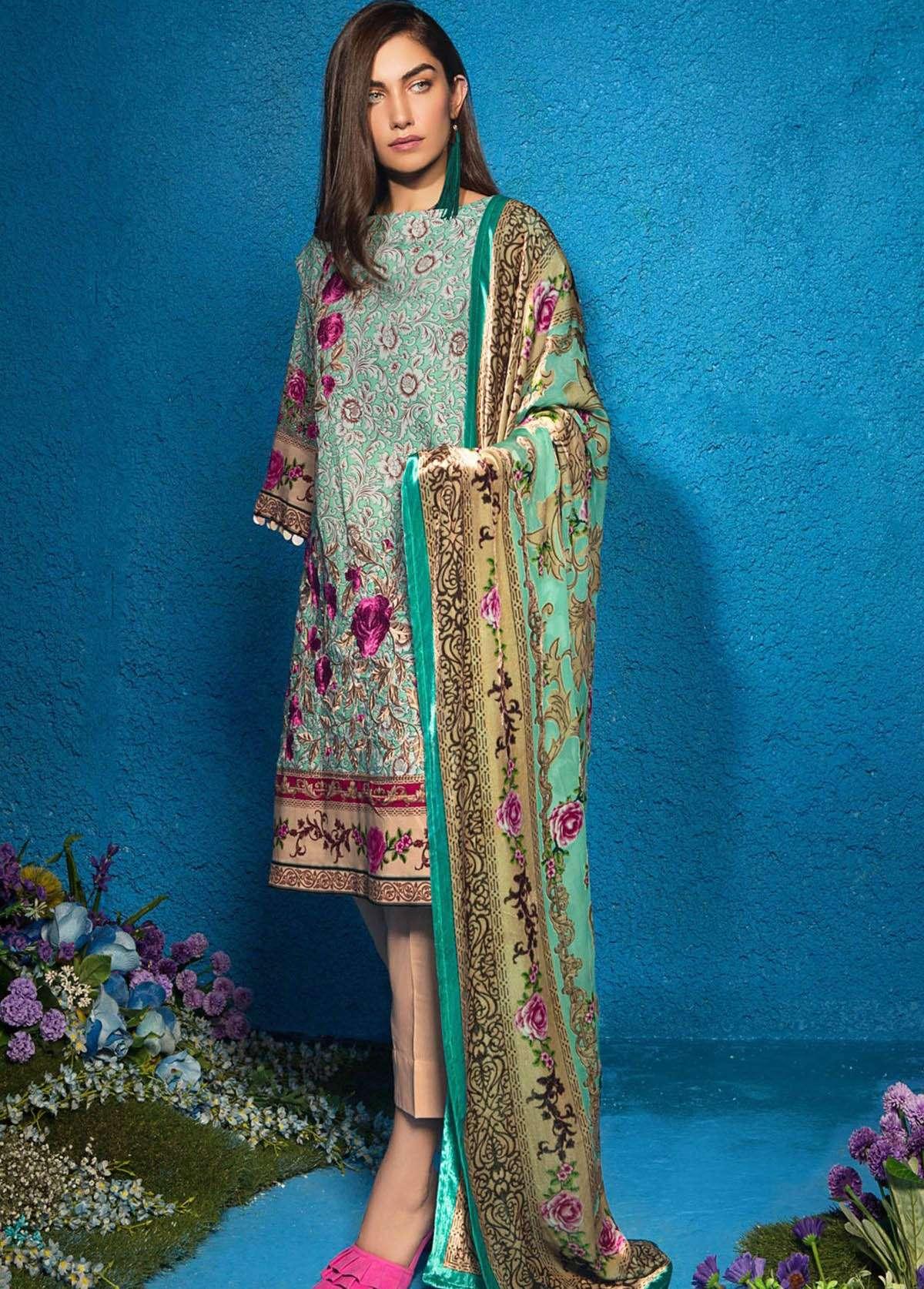 Al Karam Embroidered Linen Unstitched 3 Piece Suit AK17W 09 Blue