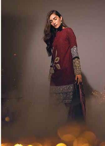 Al Karam Embroidered Linen Unstitched 3 Piece Suit AK17W 11 Red