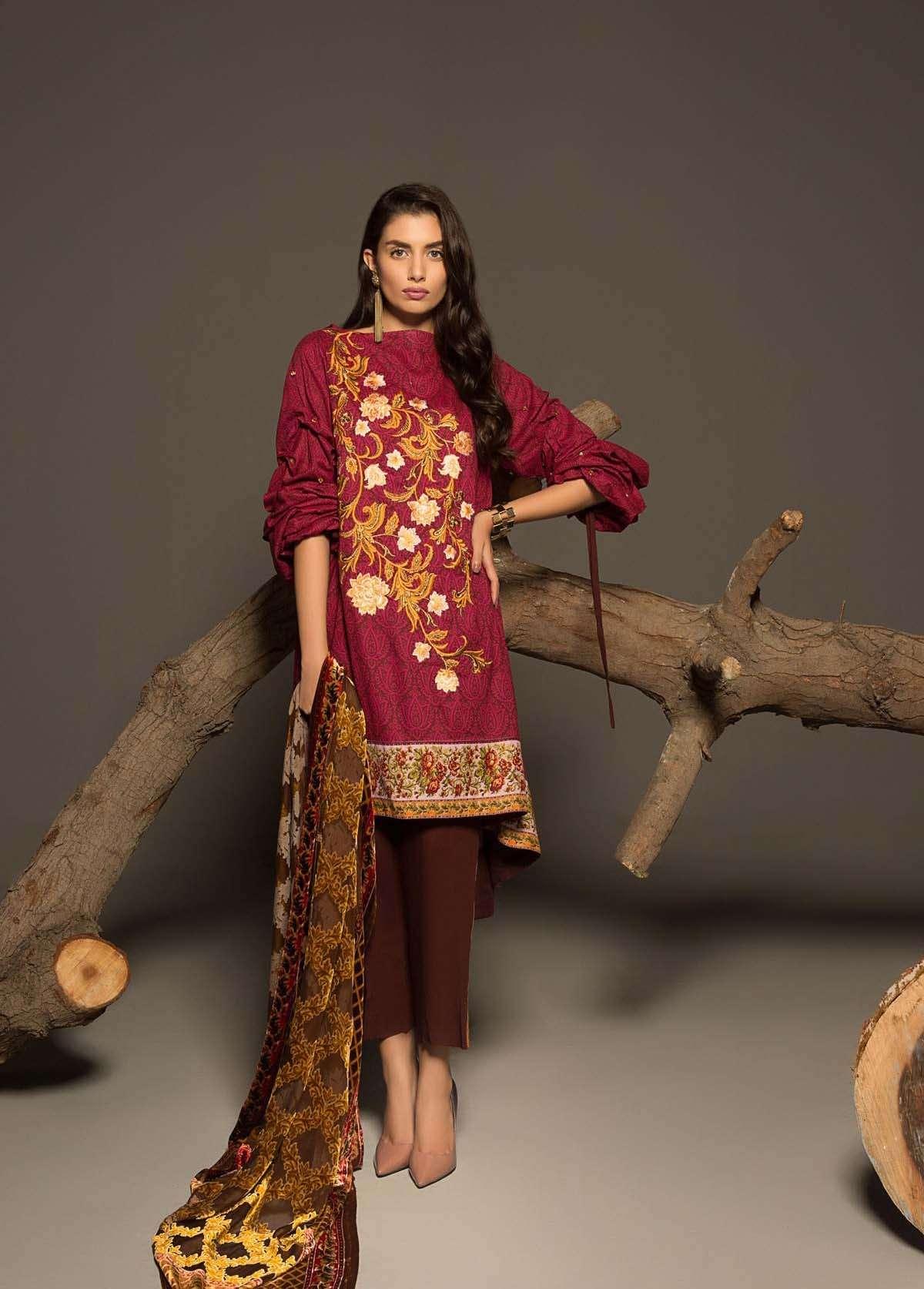 Al Karam Embroidered Linen Unstitched 3 Piece Suit AK17W 12 Red