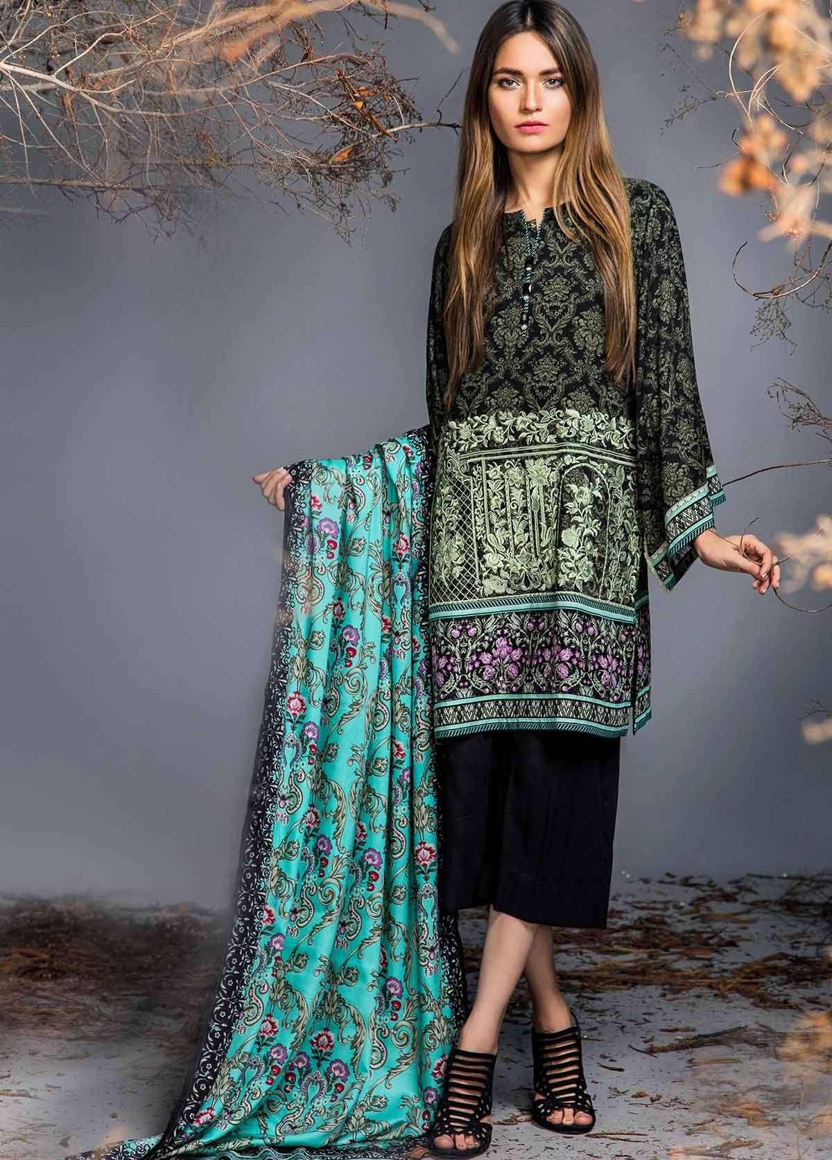 Al Karam Embroidered Linen Unstitched 3 Piece Suit AK17W 13 Blue