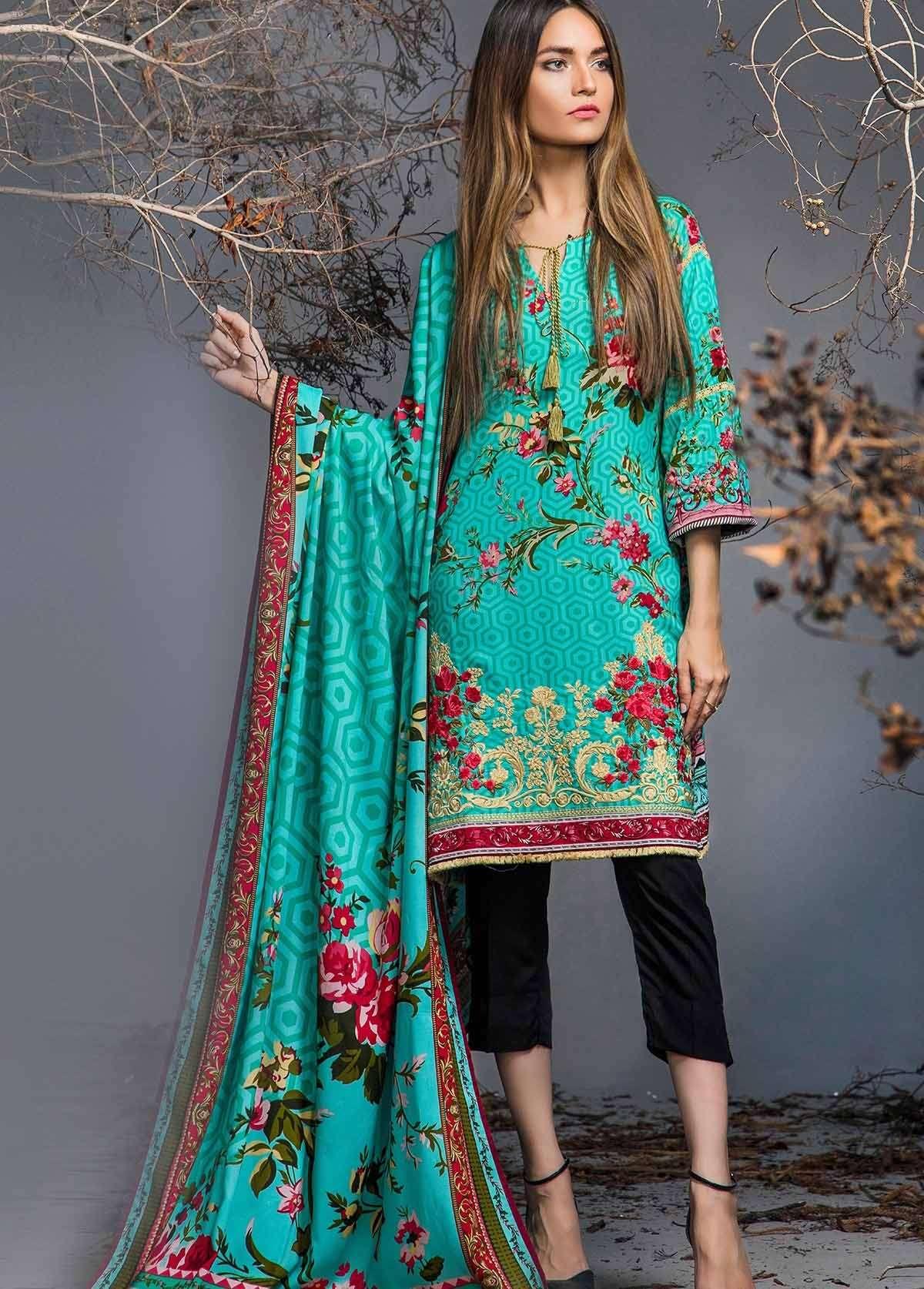 Al Karam Embroidered Linen Unstitched 3 Piece Suit AK17W 14 Blue