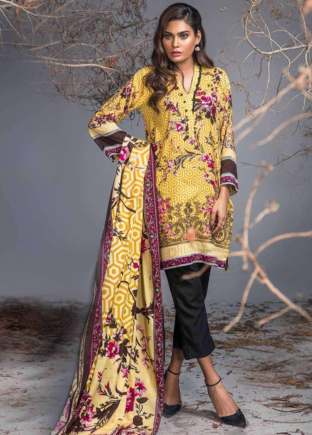 Al Karam Embroidered Linen Unstitched 3 Piece Suit AK17W 14 Yellow