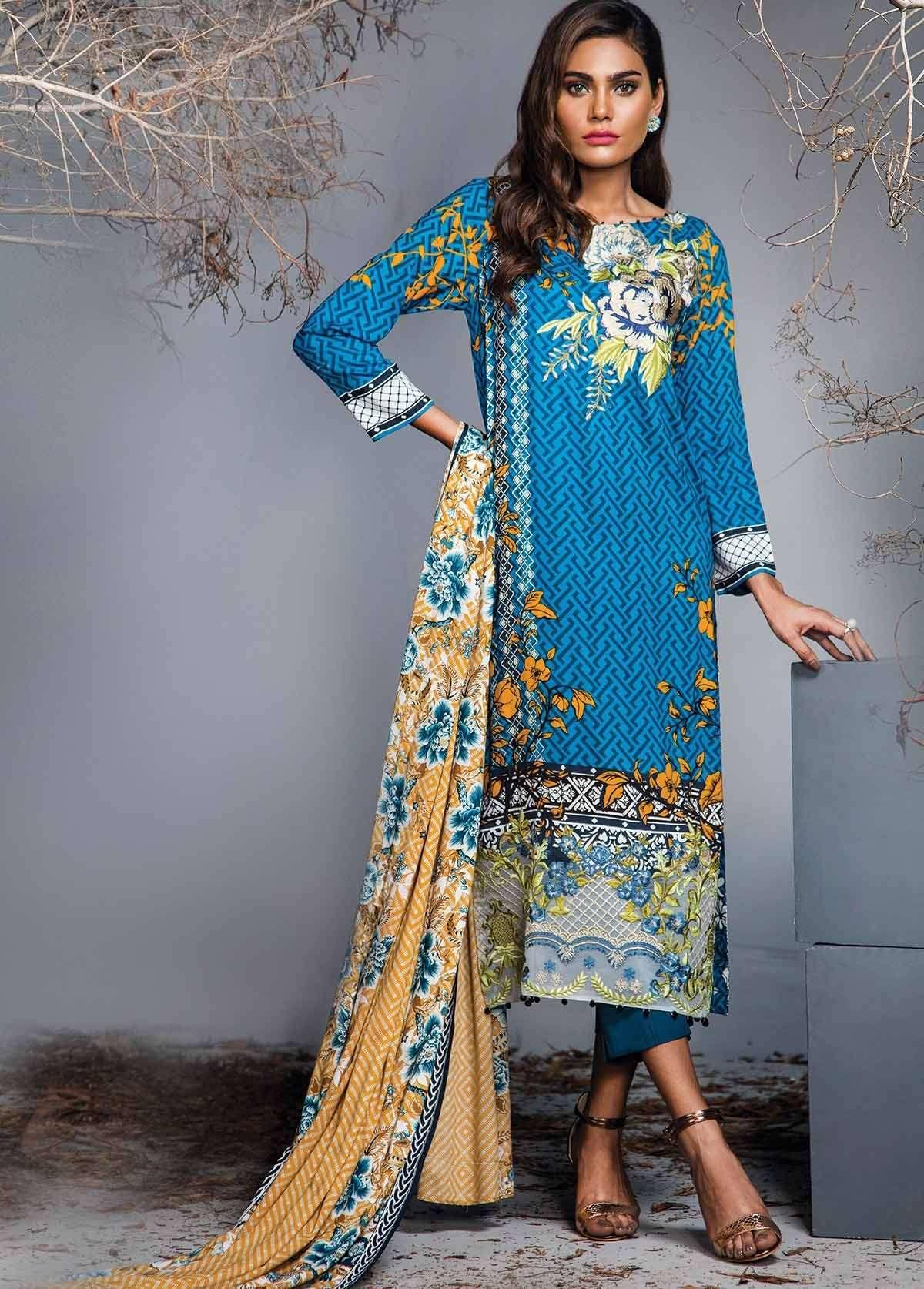 Al Karam Embroidered Linen Unstitched 3 Piece Suit AK17W 16 Blue