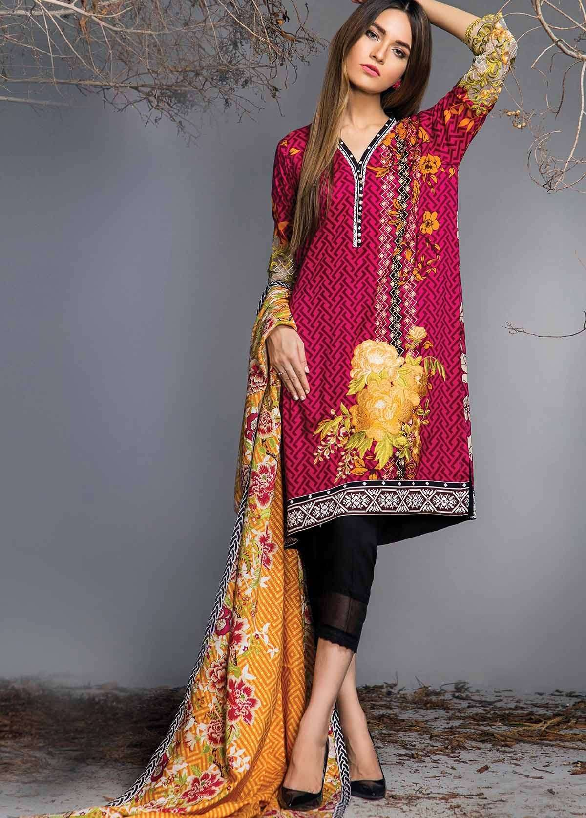 Al Karam Embroidered Linen Unstitched 3 Piece Suit AK17W 16 Pink